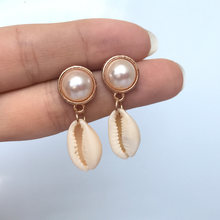 Elegant Shell Alloy Drop Earrings ZA Cute Chic Statement Pearl Dangle Earrings for Women Wedding Party Gifts Irregular Jewelry(China)