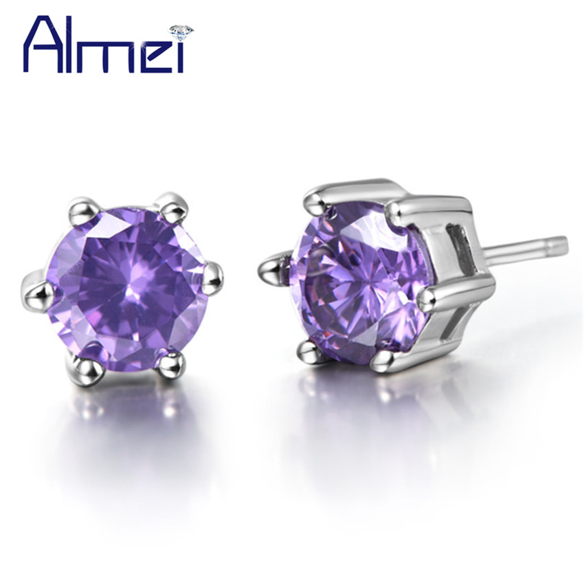 Aliexpress Almei Fashion Luxury White Purple Stone Earrings For Men Women Silver Color Small Lot Earring Set Penntes Punk Jewelry R109p From