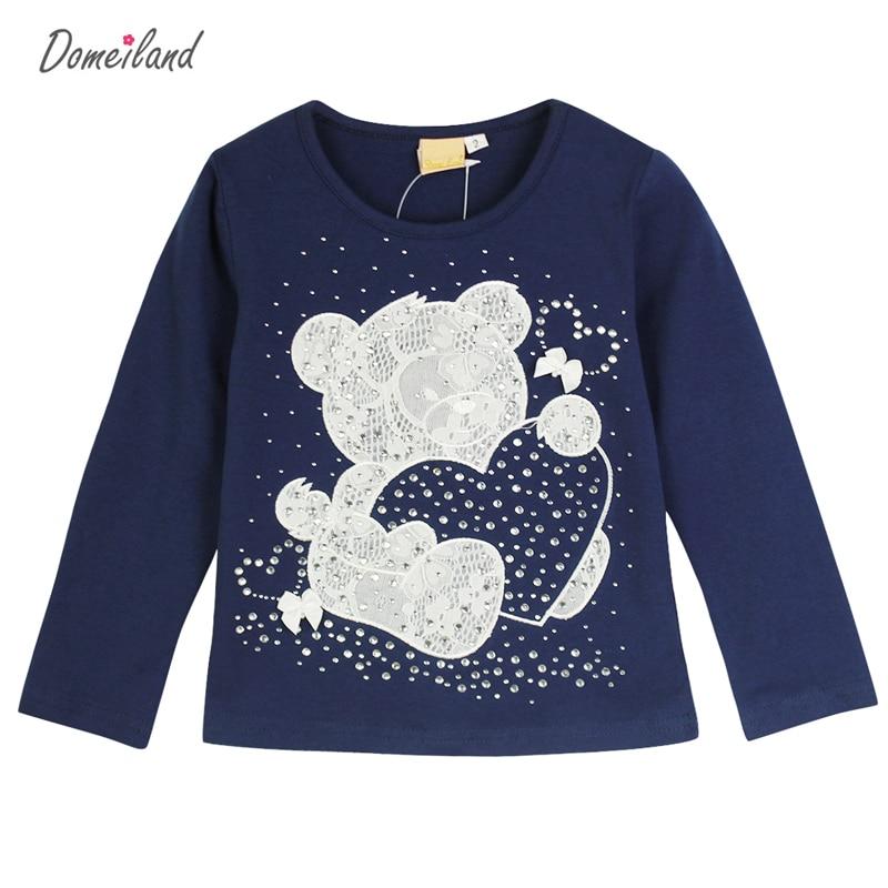 2017 Fashion spring brand domeiland Baby Girl Clothes Bear Long Sleeve Cartoon Rhinestone Cute T-Shirts Cotton Knit T-Shirts
