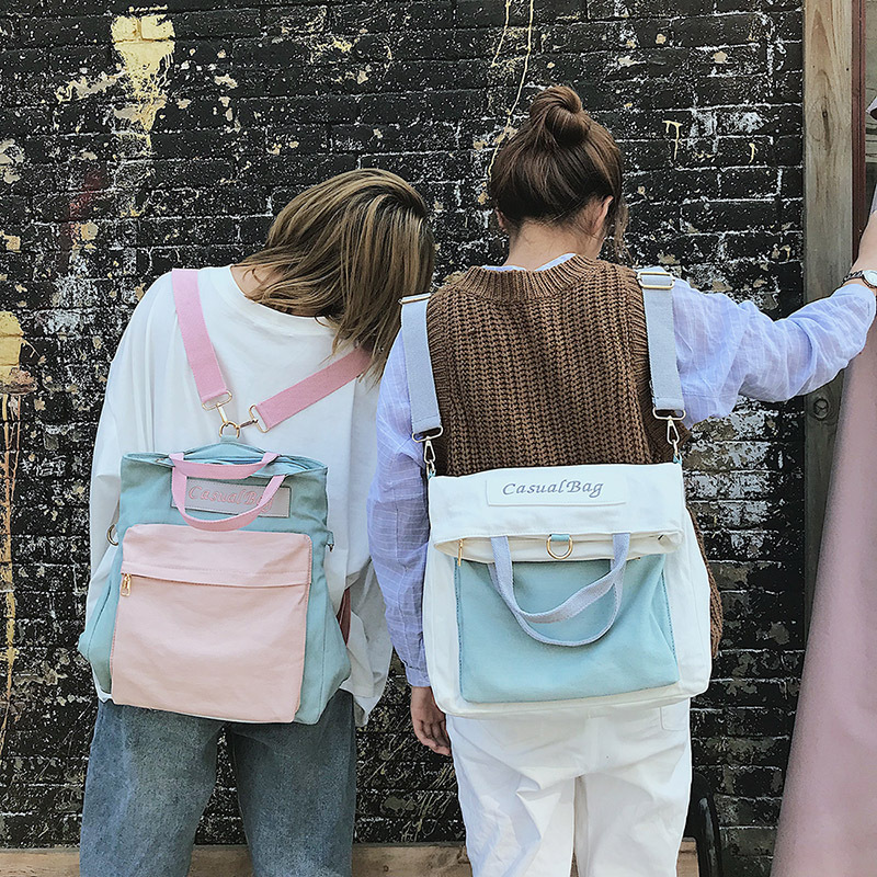 Fashion 2019 New Arrival  Women Backpack Portable Letter Panelled Canvas Softback Student Large Capacity Back Pack