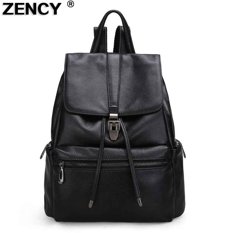 ZENCY New 2017 Genuine Leather Women Natural First Layer Cowhide Female School Backpacks Ladies Girl Laptop Shopping Casual Bag zency genuine leather backpacks female girls women backpack top layer cowhide school bag gray black pink purple black color