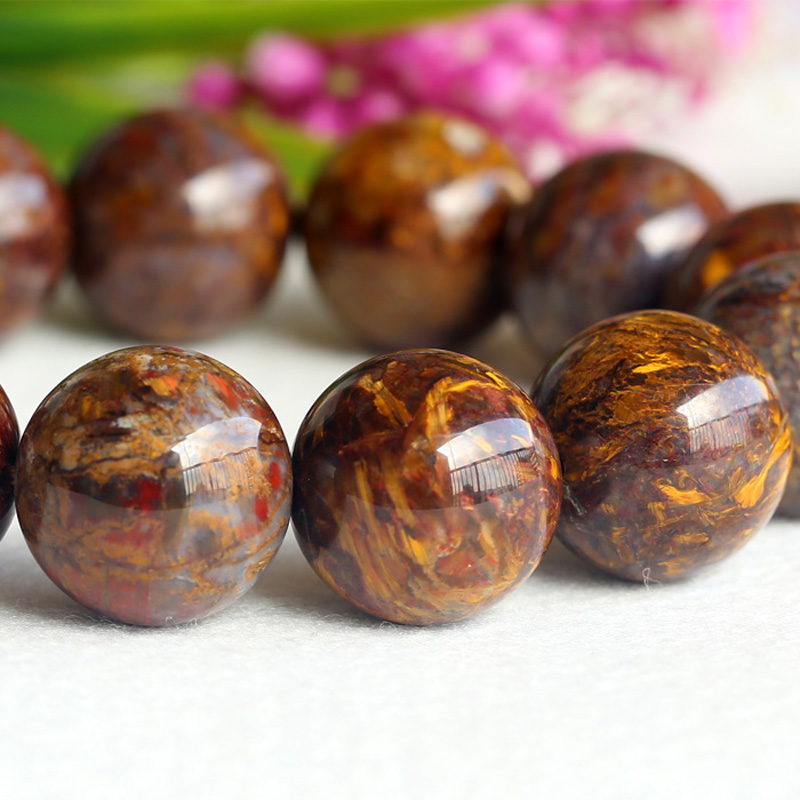 Natural Genuine Brown Gold Pietersite Stretch Men's Stretch Finish Bracelet Round Big beads 20mm 04124 недорого