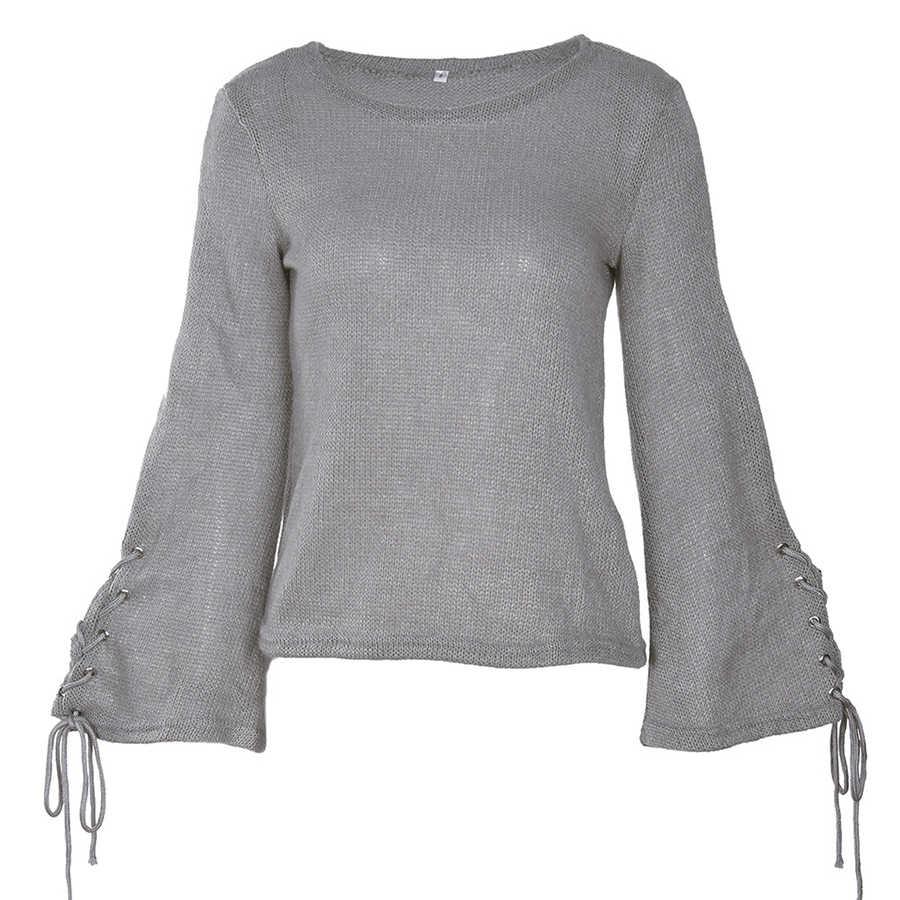 DICLOUD otoño encaje-Up suéter Casual mujer cuello redondo trompeta manga elegante pulóveres mujer moda más tamaño Tops sueltos