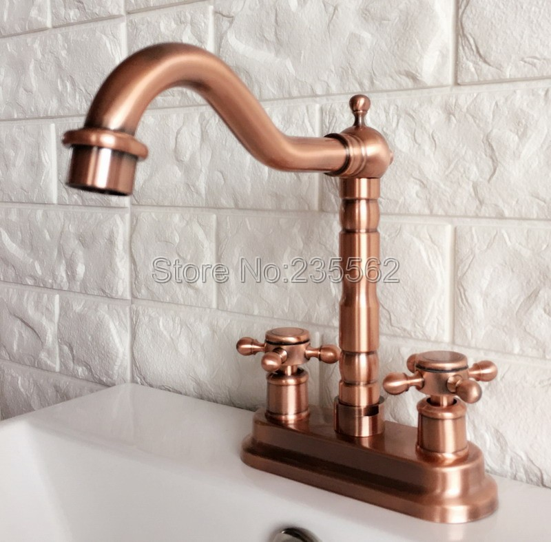 Antique Red Copper Swivel Spout Bathroom Basin Faucet and Kitchen Sink Faucets Dual Handle Cold / Hot Water Mixer Taps lrg044 antique copper swivel spout kitchen sink faucet single hole deck mounted dual handles bathroom basin mixer taps wnn013