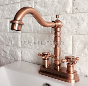 цена на Antique Red Copper Swivel Spout Bathroom Basin Faucet and Kitchen Sink Faucets Dual Handle Cold / Hot Water Mixer Taps lrg044