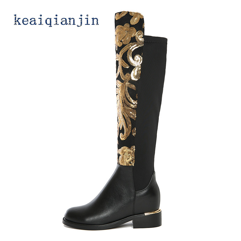 ФОТО Genuine Leather Knee-High Boots 2016 Autumn Winter High Quality Fashion Black Thigh High Boots Plus Size Printing Woman Boots
