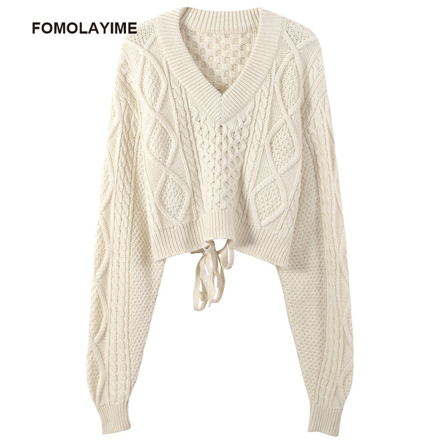 FOMOLAYIME Pullover Sweaters 2018 Autumn Fashion Sexy Short Strapless Halter Tops Loose Slim Sweater Women
