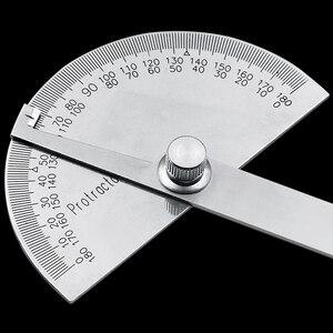 Image 2 - נירוסטה עגול ראש 180 תואר מד זוית זווית Finder רוטרי מדידת שליט מכונאי כלי 10cm אומן שליט