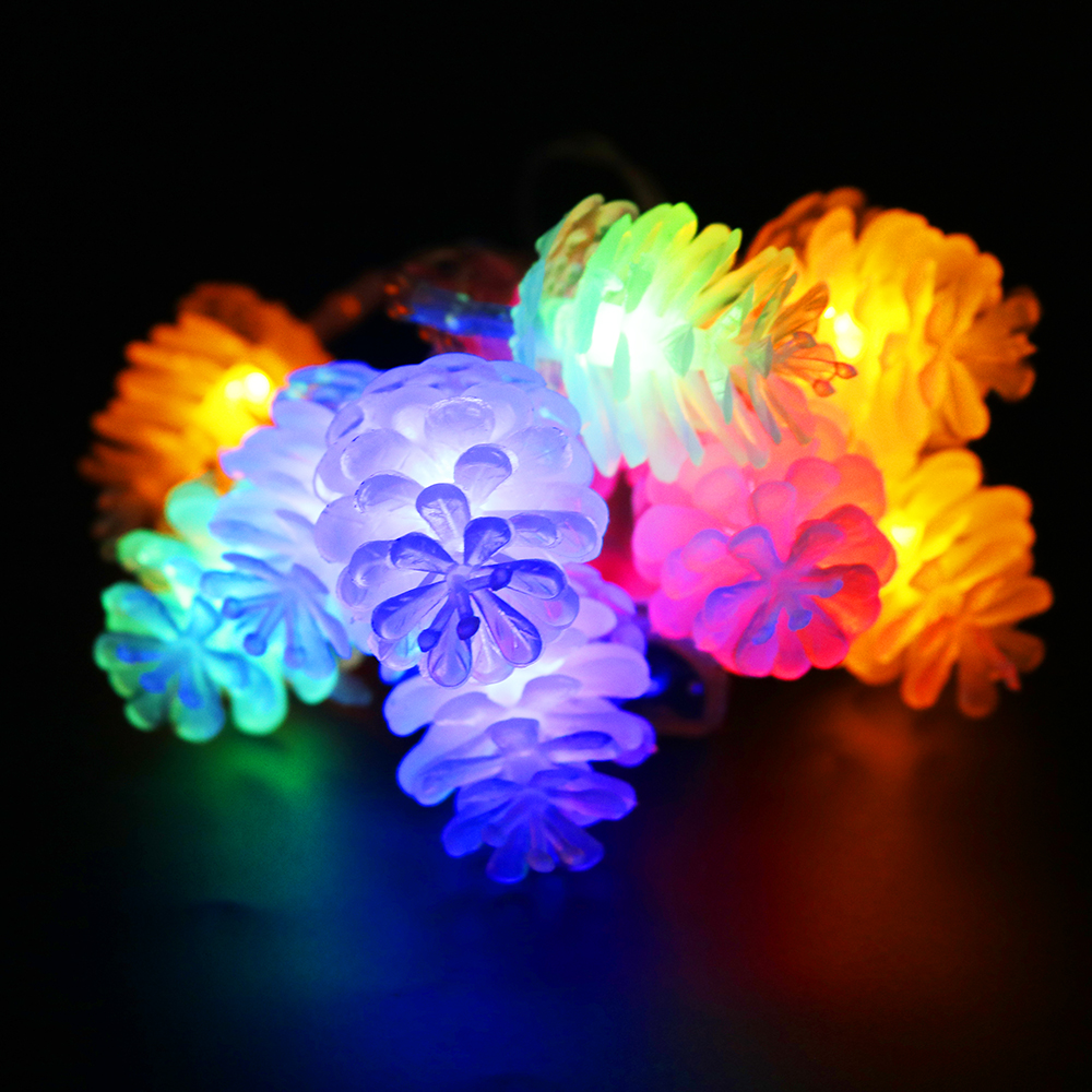 Christmas Pinecones LED String 200cm Length 20leds Color Pineal Lantern Light with AA battery box for Holiday decoration VR
