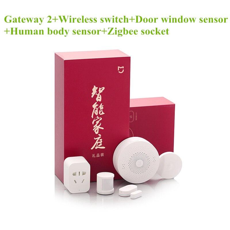 imágenes para Nueva xiaomi mijia kit smart home gateway 2 + toma de zigbee + puerta ventana del sensor, sensor del cuerpo humano, Conmutador inalámbrico, Conjunto de Casa Inteligente