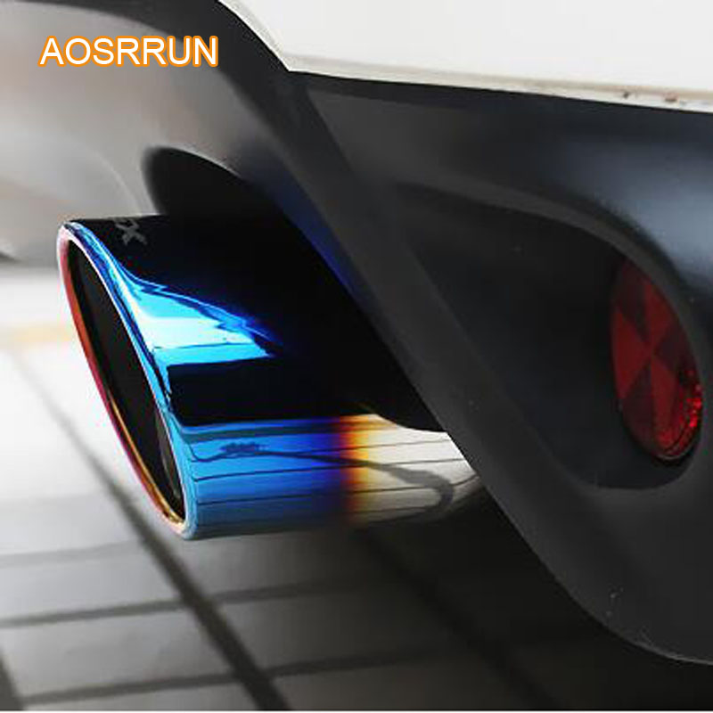 AOSRRUN Stainless steel exhaust pipe refit muffler with blue tail throat cover Car accessories For Mitsubishi ASX 2017 2018