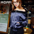 wfst brand 2017 Spring off shoulder women sexy baseball jacket loose collar strapless long sleeve bomber jackets mf175326