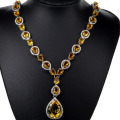 Big Gemstone Drop Golden Citrine, White CZ Created SheCrown Woman's Wedding   Silver Necklace 18 inch 47x19mm