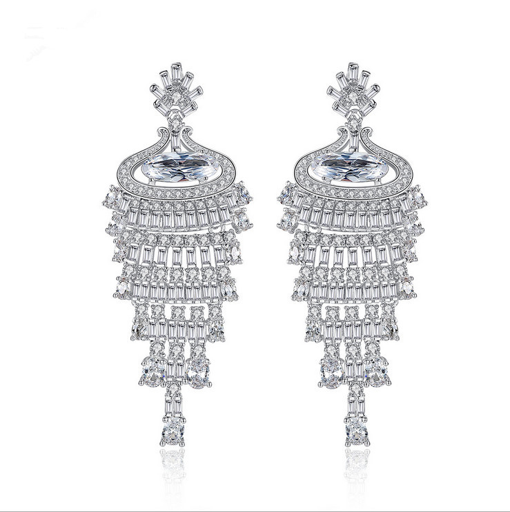 New design Luxury AAA cubic zirconia Classical style drop earrings unique dress party&wedding accessaries,E0006