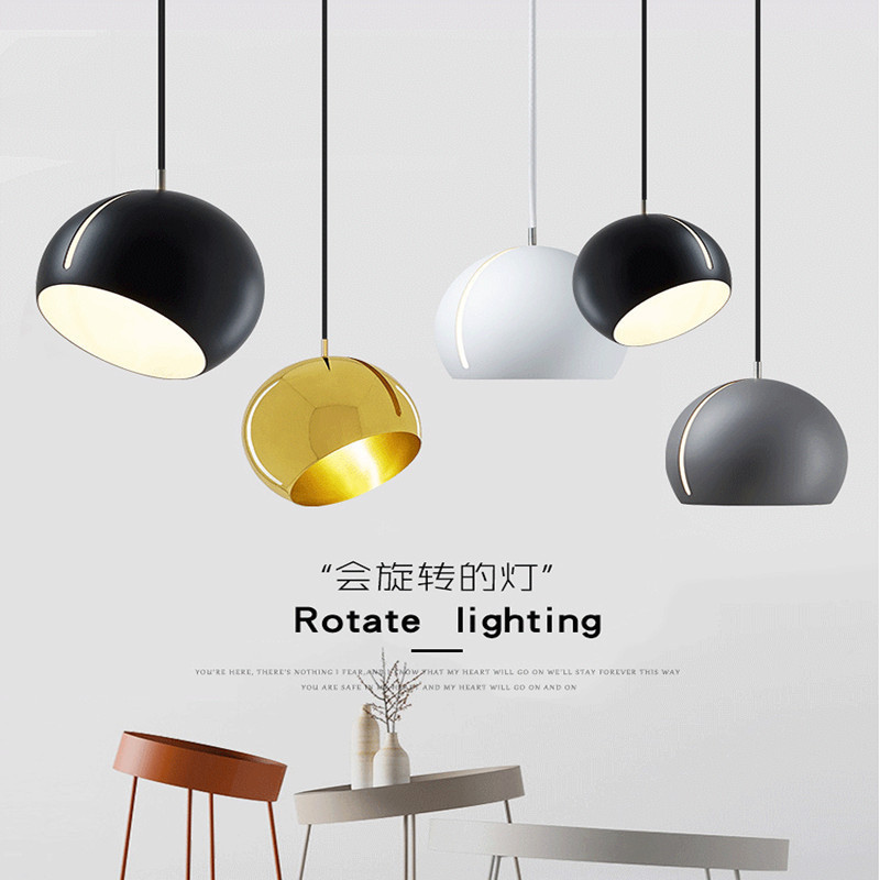Simple Ball Round Chandelier New Designer Nordic Style Restaurant LED Pendant Lamp Art Study Bedroom Black White Yellow Gray