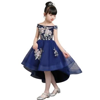 Children elegant one shoulder evening party dress royal blue baby girl wedding luxury irregular clothing chinese modern clothes