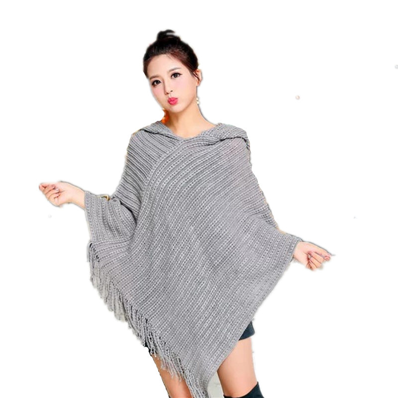 2017 Winter Women Tassel Hooded Poncho Shawl Solid Knitted Oversize Scarves Cape Wraps