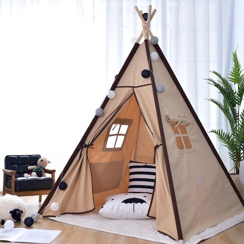 4 Pole Kids Play Teepee Tent Childrens Teepee Indian Play Tent House Kids Room Decor