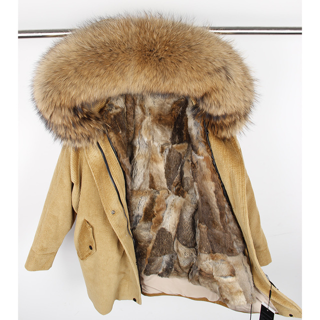 5e35a2224403 winter Natural rabbit fur lining jacket coat Women parka fur coat Corduroy  real raccoon fur collar