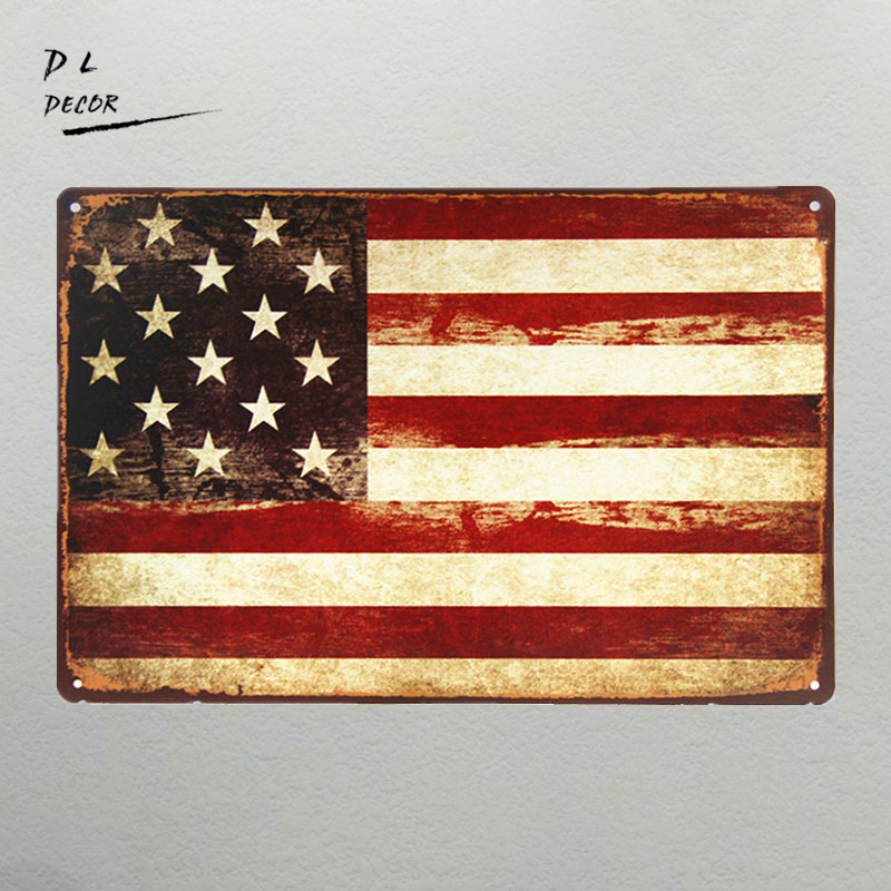 Aliexpress.com : Buy DL Vintage Metal Signs USA Flag Wall