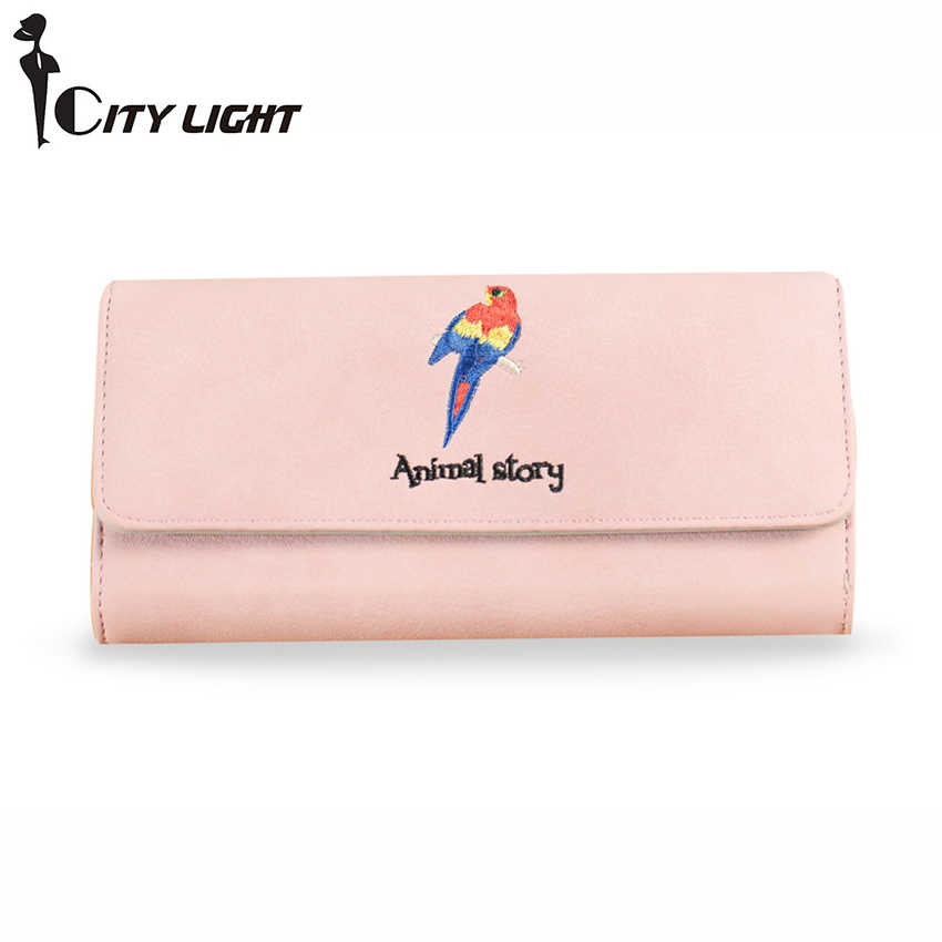 City Light Высокое Ёмкость Мода Попугай Шаблон Для женщин Женские Кошельки длинные искусственная кожа сцепления милые многофункциональный мобильный телефон сумки