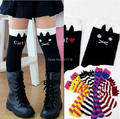7 colors 2-7T winter kids girls knee high long striped cat black cotton socks for girls, children accessories for dress