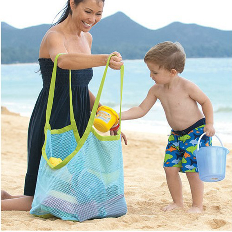HOT!Foldable Portable Sand Beach Bag Kids Children Mesh Beach Toy Baskets Sundries Bags Baby Bath Toys Summer Swimming KIds Toys
