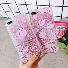 For iPhone 6 6S 7 8 Plus X Phone Case Liquid Quicksand Peach Silicone Cover For iPhone 8 Plus 7 Plus 6 6S Plus Phone bag for iphone x 6 6s 7 8 plus case fashion girl chat page coffee cup liquid quicksand silicone cover for iphone 8 plus phone bag