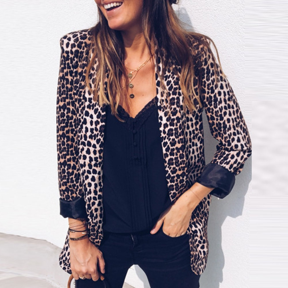 Women Casual Blazers Boho Hip Hop Slim Notched Lapel Snake Print Leopard Female Winter Sexy Club Overcoats Pink Sweet Coats