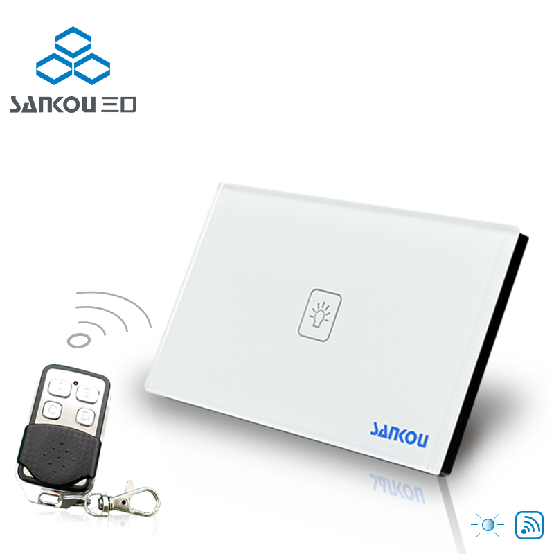 US Standard 1Gang1Way SANKOU LED Touch Switches Dimmer White Crystal Glass Panel Light Wall Remote Switch&Controller Smart Home eu us smart home remote touch switch 1 gang 1 way itead sonoff crystal glass panel touch switch touch switch wifi led backlight