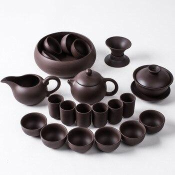 Yixing high-end Zisha tea sets raw ore purple mud handmade teapot tea cup set special