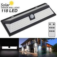 118 LED 3 Modes Remote Control Solar Wall Light PIR Motion Sensor Solar Lamp Light IP65 Infrared for Park Security Emerge Street