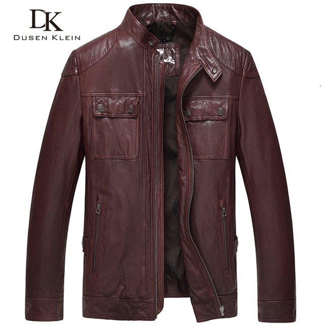 2017 Men Genuine Leather Jacket Autumn motorcycle coat Black/Wine red/Slim/Casual/Sheepskin Coat and jackets 61L14032