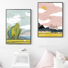 Girl Tree Mountain Oil Painting Landscape Wall Art Canvas Painting Nordic Posters And Prints Wall Pictures For Living Room Decor цена