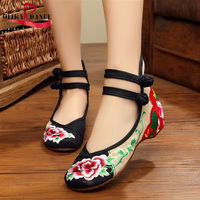 Embroidery Design CHinese Style Square Dance Shoes Wedges Perfect For Spring Outing And Casual