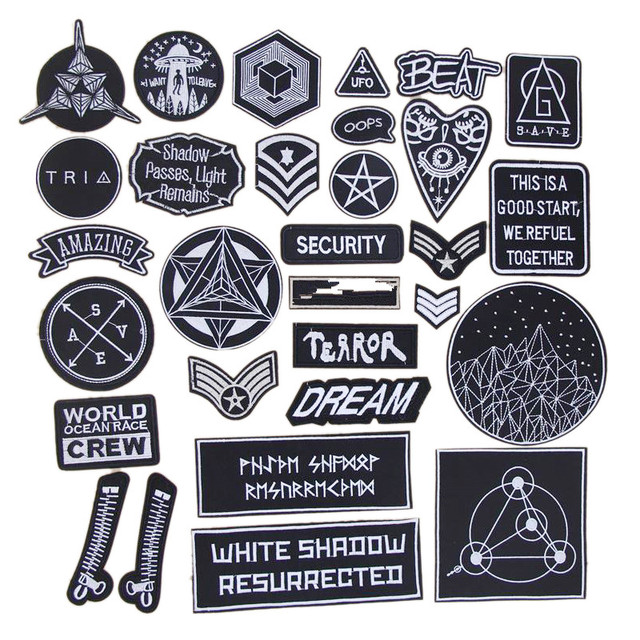 New arrival 10 pcs Black and white space series Embroidered patches iron on fashion badge Motif Applique embroidery accessory