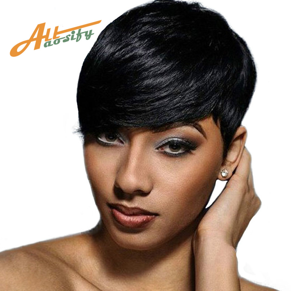 Allaosify WIG Short Black Wigs for Women Heat Resistant Synthetic Pixie Cut Wig Costume  ...