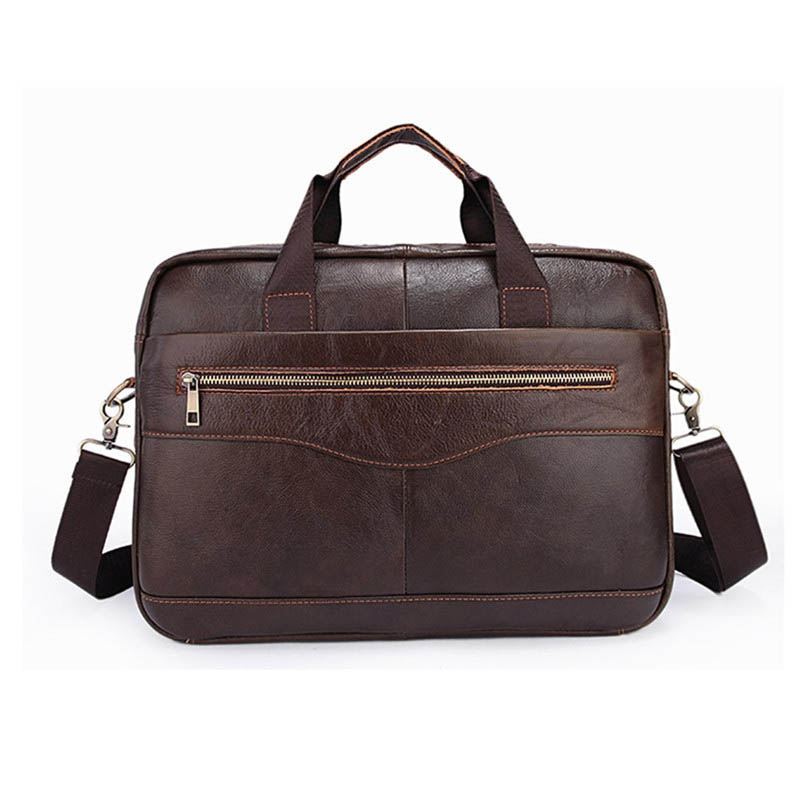 YUNAI Men s Leather Laptop Bag Brown Briefcase Handbag 14 Inch Business Travel Shoulder Messenger Bag