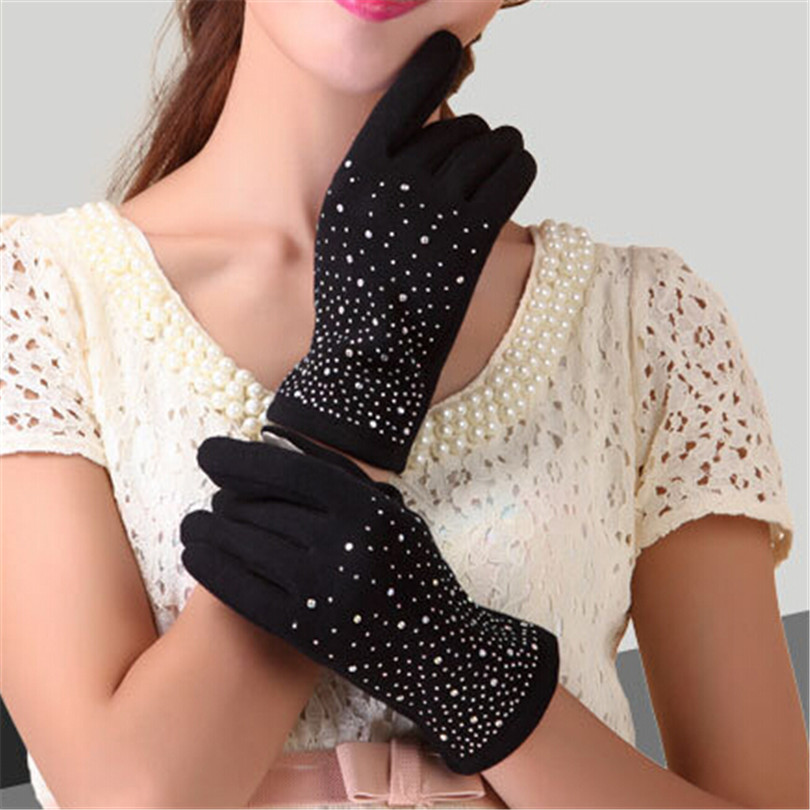 VISNXGI Autumn Winter Fashion Ladies Cashmere Gloves Female Fur Wool Mitten Gloves Sweet Elegant All Match Women Grey Gloves
