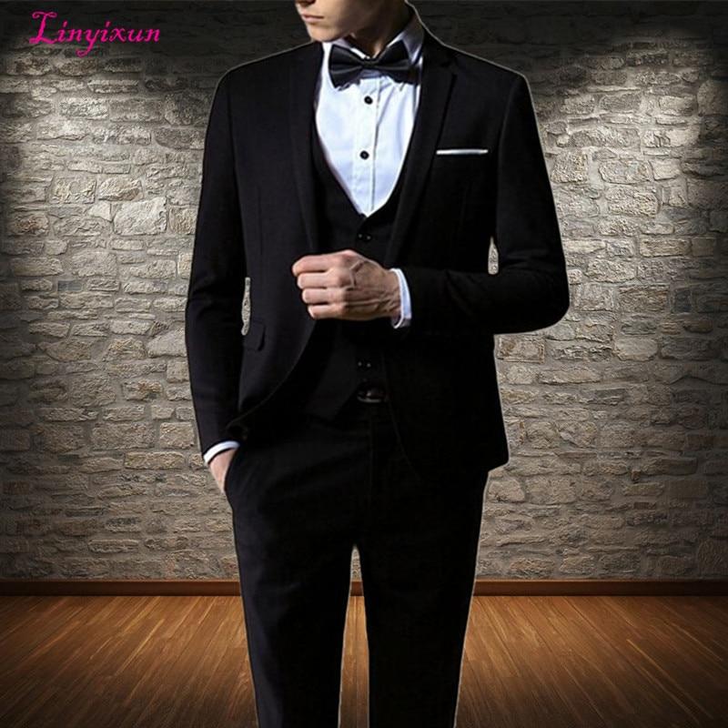Linyixun Most Popular Men's Business Suits Classics Gntleman Wedding Suits Bridegroom Best Man Suit 3 Piece Suit