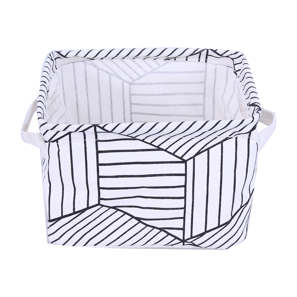 Portable Office Organizer Small Geometric Change Earphone Cable Flax Cloth Storage Boxes Jewelry Stationery Storage Basket