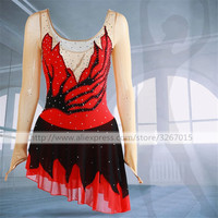 Figure Skating Dress Women's Girls' Ice Skating Competition Dress Acrobatic roller skating Performance clothes Red long sleeve