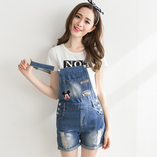 ac7be4f4b355 Womens Jumpsuit Denim Overalls Embroidered New Summer Jumpsuits Rompers  Casual Strap Hole Ripped Pockets Shorts Jeans