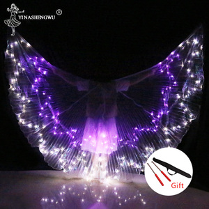 Image 4 - Belly Dance LED Wings Colorful LED Dance Props Newest LED ISIS Wings Adults Belly Dance Professional Accessory With Sticks