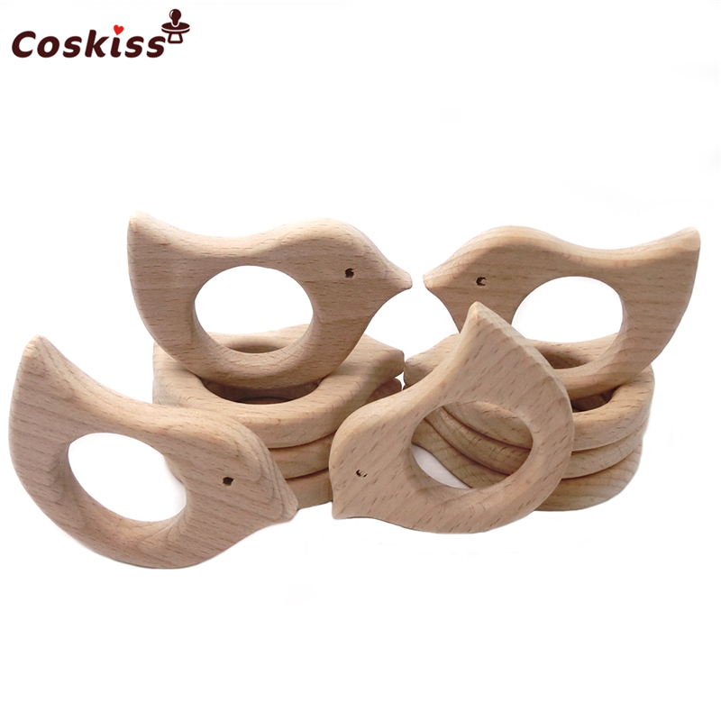 50pcs Beech Wooden Bird Natural Handmade Wooden Teether DIY Wood Personalized Pendent Eco-Friendly Safe Baby Teether Toys