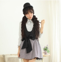 Princess sweet lolita dress The British women's waist bow Houndstooth vintage black vest and dress spring women Dolley 00101