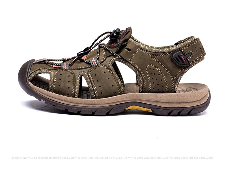 Sapatos Exército Genuíno Plus Sandálias Homens amarelo Da Chinelos Gaorui Verão Size Masculinos De Marrom Causais verde Novos Couro Respirável Moda wU1nqYx