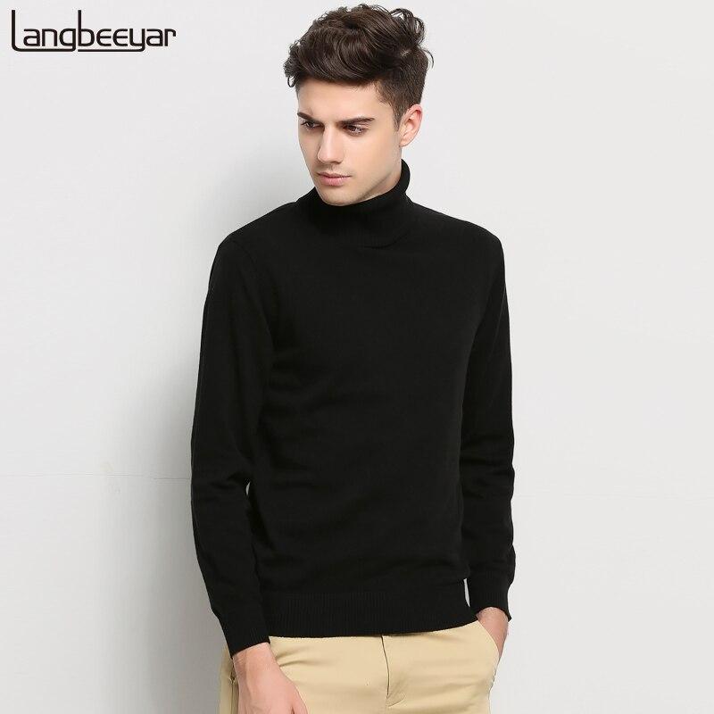 Горячая 2018 Новый осень-зима брендовая одежда свитер Для мужчин водолазка Slim Fit Зимний пуловер Для мужчин одноцветное Цвет вязаный свитер Для мужчин