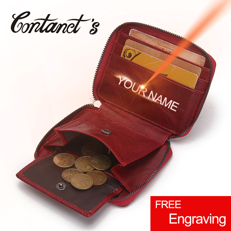 Genuine Leather Brand Woman Mini Wallets 2017 European Design Coin Purses Female Red Color Clutch Handbag Card Holder Cash Bags
