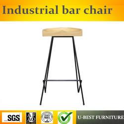 Бесплатная доставка U-BEST в американском стиле, железные ножки барного стула, ретро промышленный твердый деревянный стул высокий стул